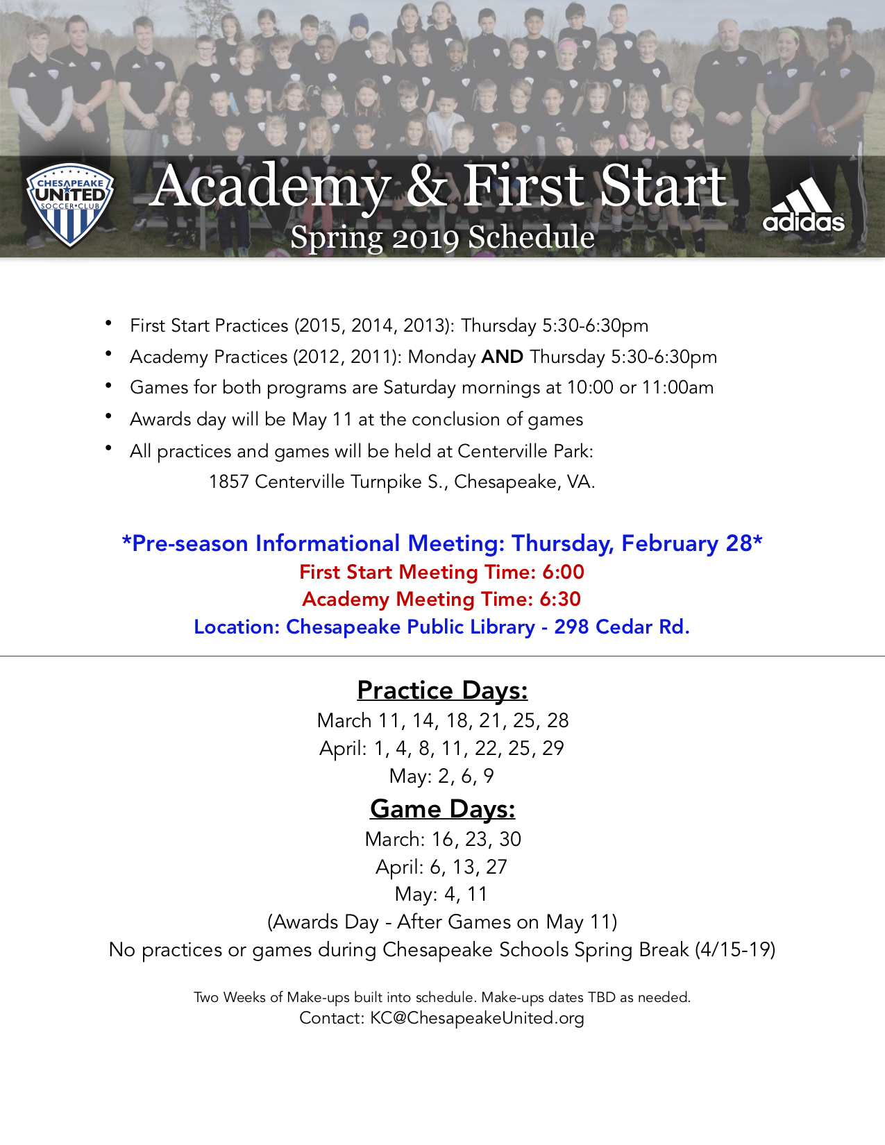ADFS Calendar Spring 2019 • Chesapeake United Soccer Club